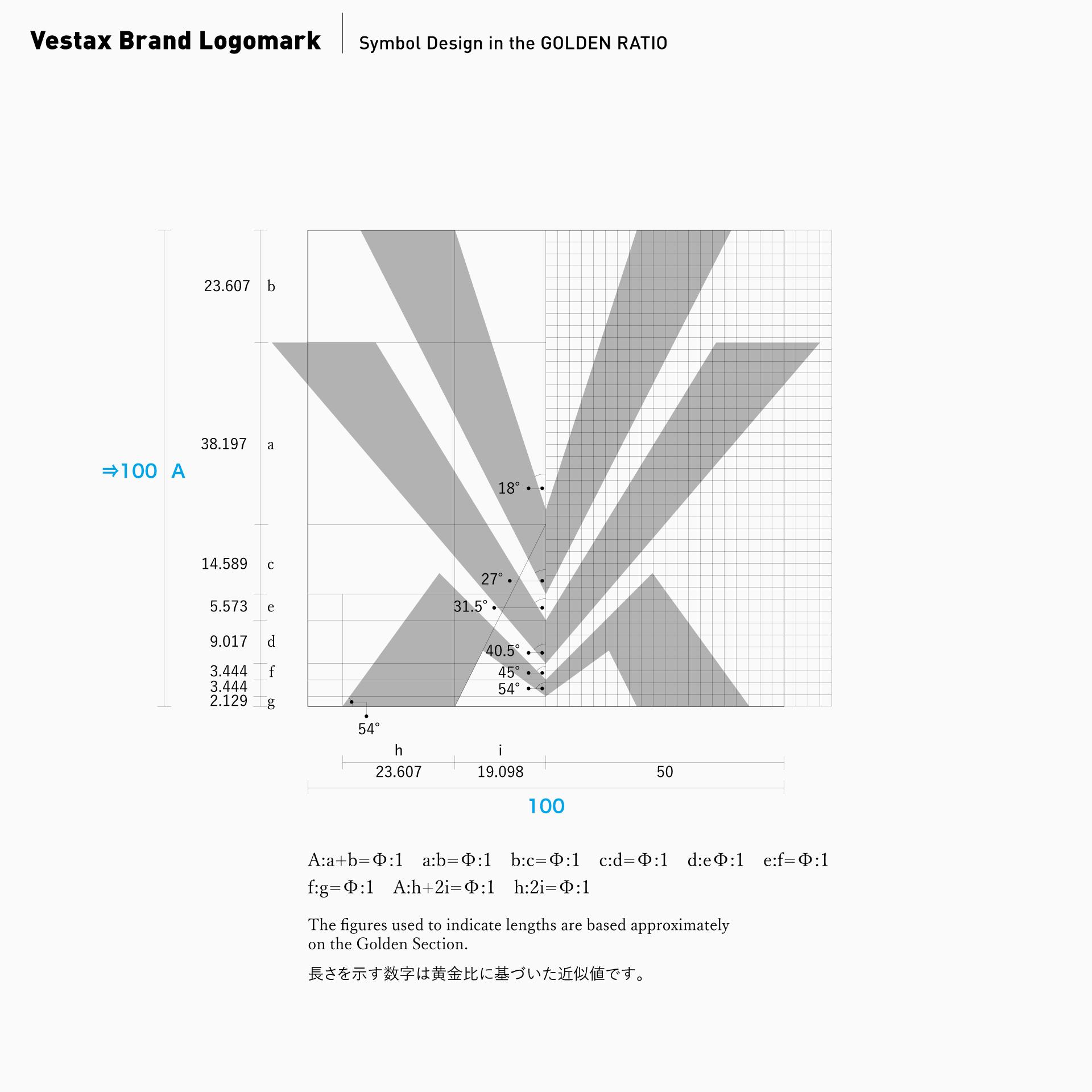 黄金比率によるロゴマークデザイン事例:Vestaxシンボルマーク