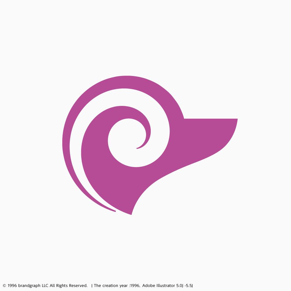 黄金比対数螺旋によるシンボルマークデザイン例:水火シンボルマーク/1996年